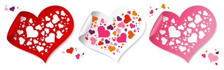 Fun confetti stickers in form of hearts. Vector