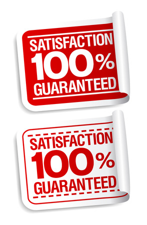money back: 100% satisfaction guaranteed stickers set.