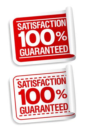 100% tevredenheid gegarandeerd stickers set.