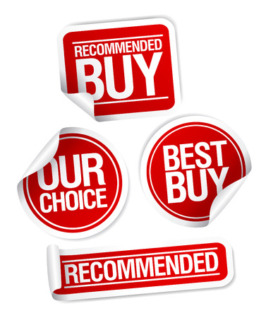 Recommended buy, our choice stickers set. Vector