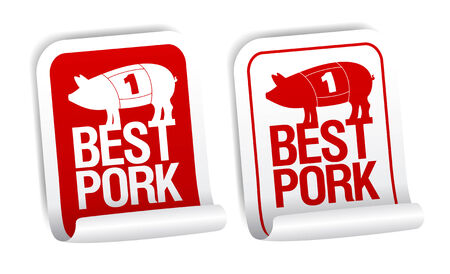 Best pork meat stickers set. Stock Vector - 8618961