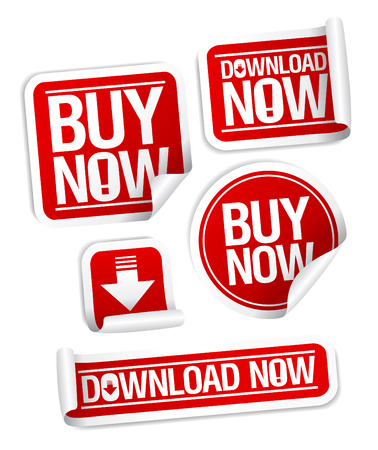 import trade: Buy Now, Download Now online store stickers set.