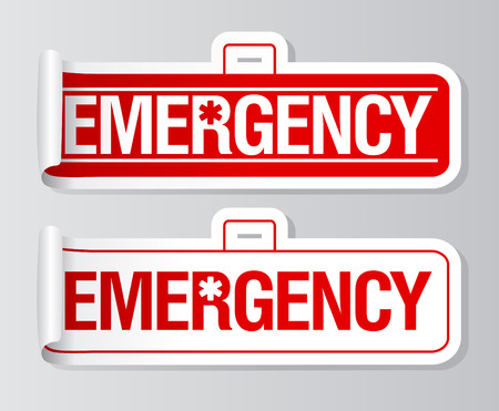 Emergency stickers set. Vector