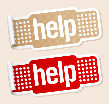 Help stickers in shape of the patch. Vector
