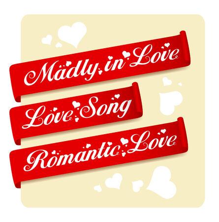 Romantic Love ribbons set. Stock Vector - 8669003