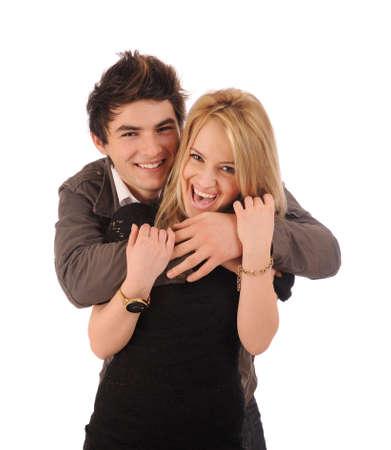Loving couple embracing on white. Stock Photo - 8669041