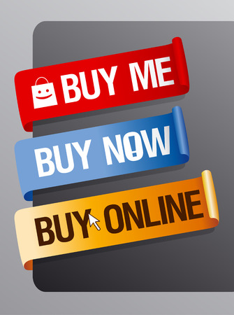Buy now, online ribbons set. Vector