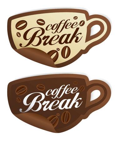 Koffiepauze stickers in de vorm van de kop.