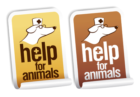 veterinary: Help for animals, first aid stickers set. Illustration