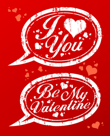 I love you Valentine`s rubber stamps in form of speech bubbles. Vector