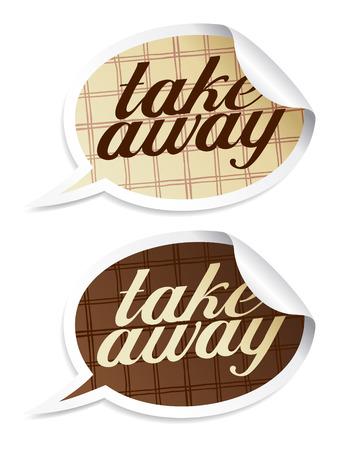 Take away stickers in form of speech bubbles. Vektoros illusztráció