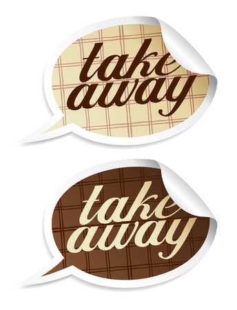 eating fast food: Take away stickers in form of speech bubbles.