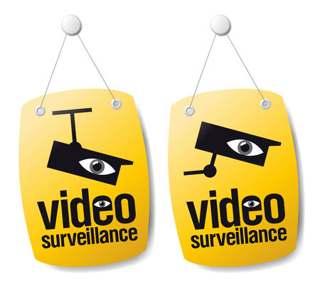 surveillance symbol: Video surveillance signs set.