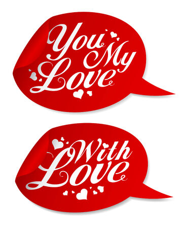With love Valentine stickers in form of speech bubbles. Vector