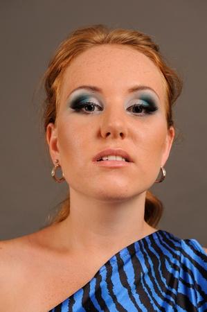 Portrait of beautiful young fashion model.  photo