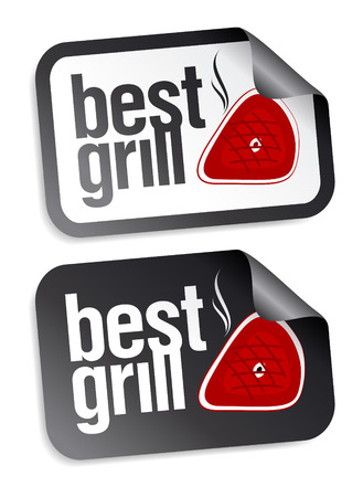 chorizos asados: Grill mejor conjunto de etiquetas de alimentos. Vectores