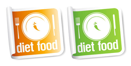 Diet Food stickers set. Stock Vector - 8732874