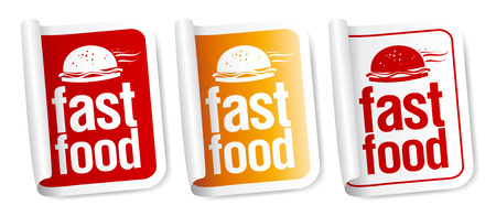 Fast Food stickers set. Vector