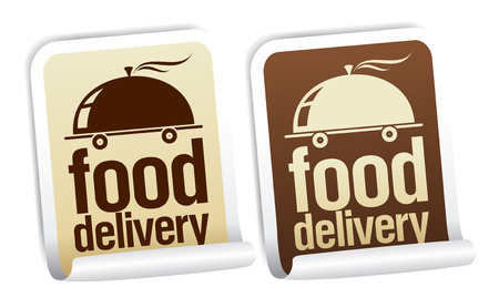 fast foods: Food delivery stickers set. Illustration
