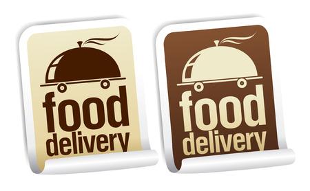 Zestaw naklejki dostawy żywności.