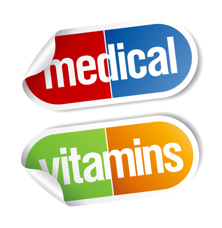 vitamins pills: Vitamins, pills medical stickers set. Illustration