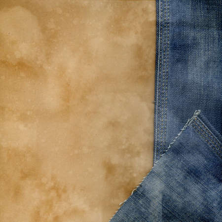 Jeans and paper vintage background. Stock Photo - 8732906
