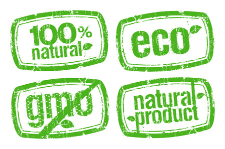 set of ecology stamps, GMO free. Vector
