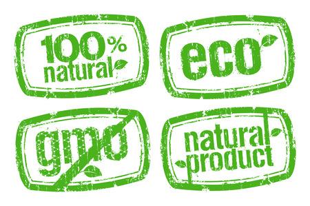 gmo: set of ecology stamps, GMO free.