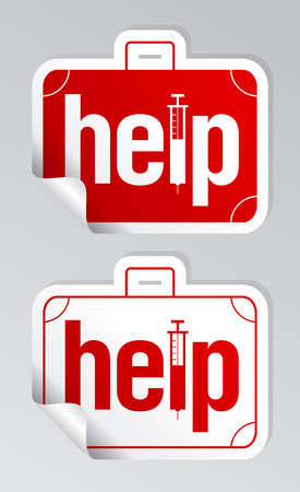 Help, first aid stickers set. Vector