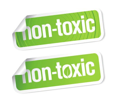danger chimique: Produit non toxique autocollants ensemble.