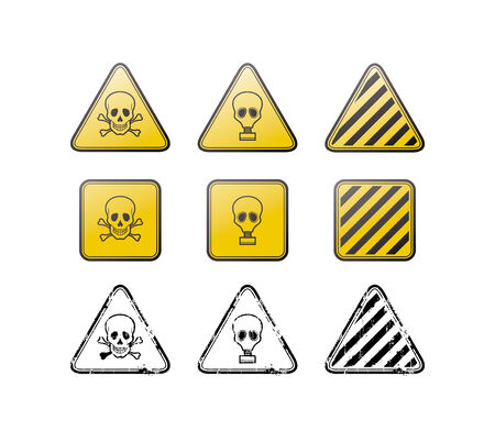 gasmask: set of toxic icons and stamps