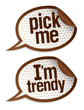 branded product: Pick me I`m trendy stickers in form of speech bubbles.