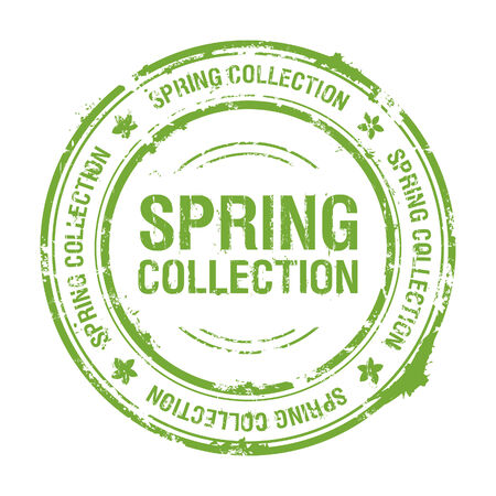 spring collection rubber stamp Vector