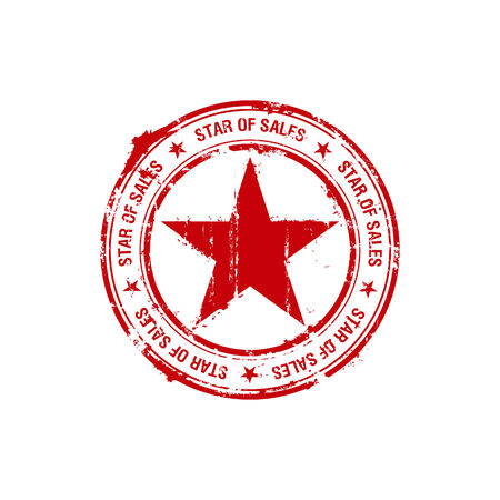 star of sales rubber stamp Vector