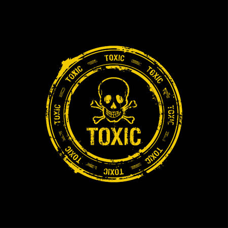 chemical weapon symbol: toxic rubber stamp Illustration