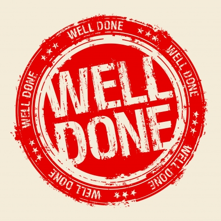 done: Well done rubber stamp. Illustration