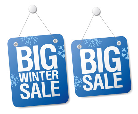 cheap prices: Big winter sale signs set. Illustration