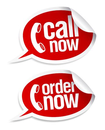 orden de compra: Llame ahora pegatinas en forma de burbujas de discurso.