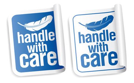 cautious: Manejar con cuidado conjunto de pegatinas de embalaje Vectores