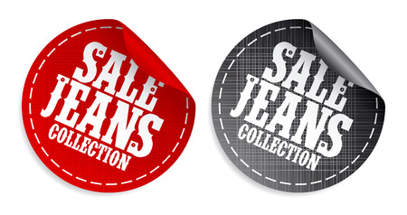 Sale Jeans collection tickers set Stock Vector - 8880921