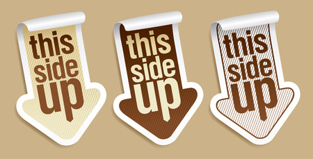 this side up: This side up, packing stickers set Illustration