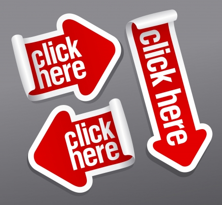 click icon: Click here stickers set.