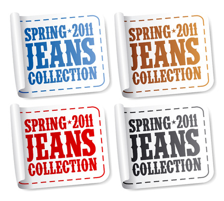Spring 2011 jeans collection stickers set Stock Vector - 9059511