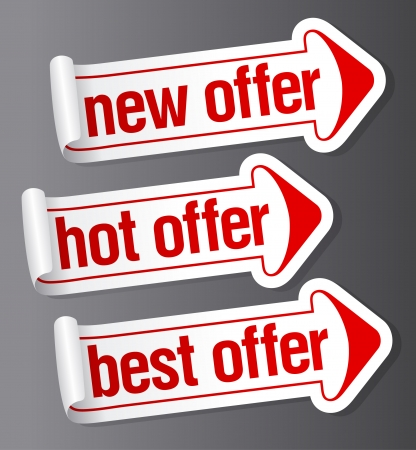 New best offer stickers in form of arrow.