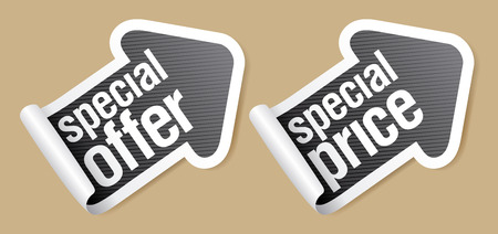 Special offer stickers in form of arrow. Vector