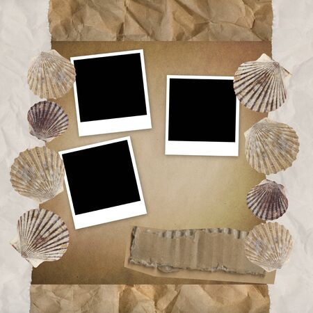 Vintage background with shells and photo frames. photo