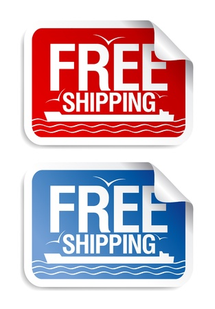 Free shipping stickers set. Stock Vector - 9059527