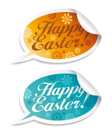 Happy Easter stickers in form of speech bubbles.