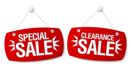 clearance sale: Special sale signs set.