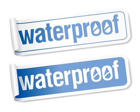 Waterproof stickers set. Vector